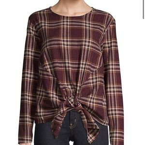 DESIGN LAB Plaid Tie Front Cotton Long Sleeve